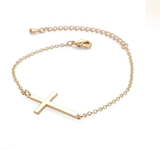 Silver Plated Celebrity Style Small Cross Bracelet