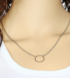 Gold Silver Plated Hollow Circle Pendant Necklace