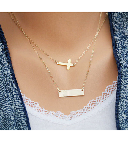 Cross Bar Gold Tone Pendant Necklace