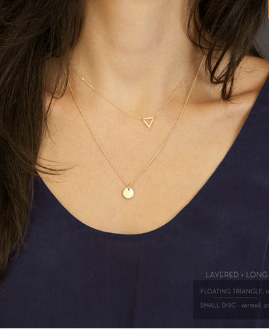 Gold Plated Disc Hollow Triangle Pendant Necklace