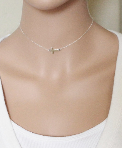 Cross Silver Plated Women Pendant Necklace
