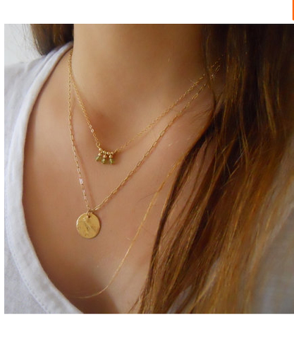 Gold Plated Coin Turquoise Charm Pendant Necklace