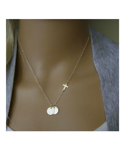 Cross Sideways Silver Coins Charm Pendant Necklace