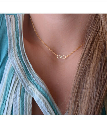 Gold Plated Infinity Charm Pendant Necklace