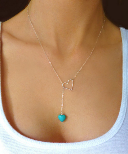 Silver Plated Hollow Heart Turquoise Charm Necklace