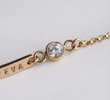 Personalized 14K Gold Filled CZ Name Bar Charm Bracelet