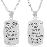 """THE LOVE BETWEEN A MOTHER AND DAUGHTER IS""SILVER NECKLACE"