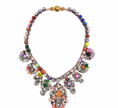 Luxury bib choker statement colar crystal necklace