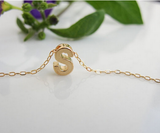 Gold Plated Custom Made One Initial Necklace