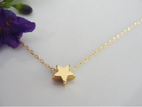 Gold Plated Tiny Star Charm Pendant Necklace