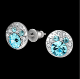 Cute Crystals Blue Silver Rose Gold Plated Stud Earrings