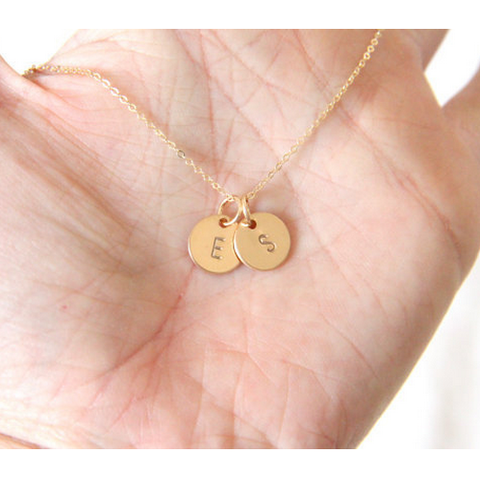 Gold Filled Personalized Two Initials Disc Necklace
