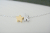 Personalized Silver Initial Gold Star Charm Necklace