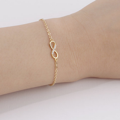 Gold Silver Cubic Zircon Infinity Bracelet for Women