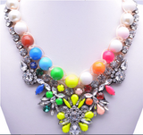 Crystal Pearl Statement Fashion Necklace