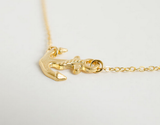 Gold Plated Sideways Anchor Charm Necklace