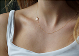 Gold Plated Personalized Sideways Initial Necklace