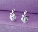 Pentagram Crown Crystal CZ Silver Ear Studs Earrings