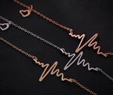 EKG Heartbeat Heart line Pendant Gold Plated Necklace