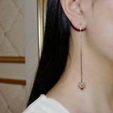Rose Gold Plated Spider CZ Crystal Thread Earrings