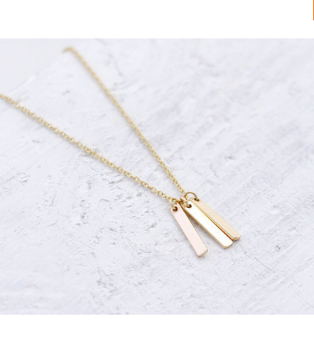 Gold Plated 3 Bars Charm Pendant Necklace