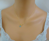 Gold Plated Infinity Charm Turquoise Necklace