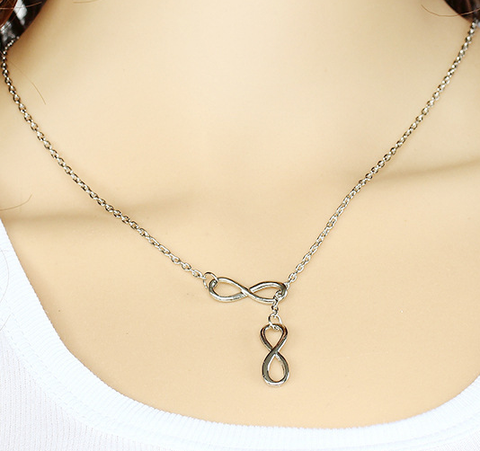 Silver Luck Number 8 Infinity Short Pendant Necklace