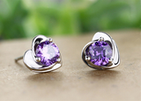 Silver Amethyst Heart Style Stud Earrings