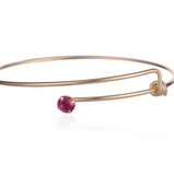 Gold Plated Cubic Zirconia Birthstone Bracelet Bangle
