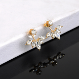 Chic Gemstone Crystal Leaf Ear Jacket Earrings