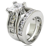 Sterling Silver Princess Cut CZ Engagement Double Ring Set