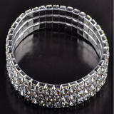 Fashion Rows Crystals Silver Bangle Bracelet