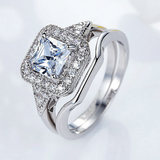Platinum Plated Luxury Square Cubic Zircon Women Ring