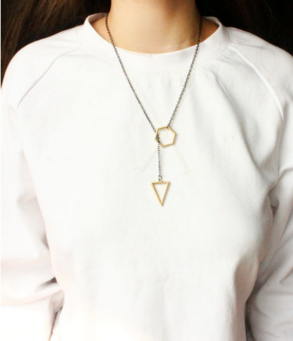 Gold Silver Plated Triangle Sexagram Necklace