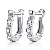 Silver White Sapphire Ear Hoop Earrings