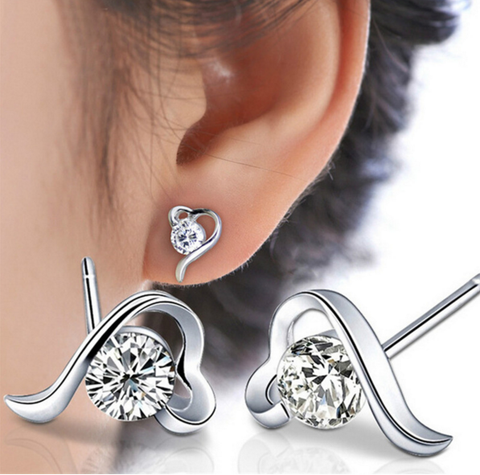 Silver Crystal CZ Love Heart Stud Earrings