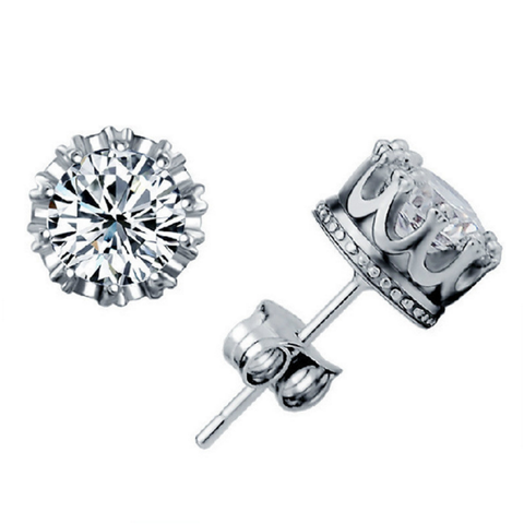 Silver Crown Round Crystal CZ Stud Earrings