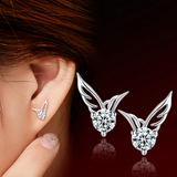 Cute Silver CZ Angel Wings Stud Earrings