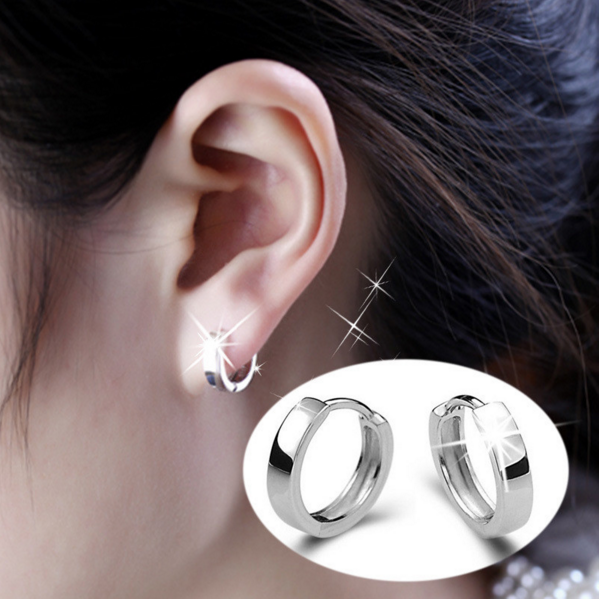 Unisex Silver Ear Hoop Earrings