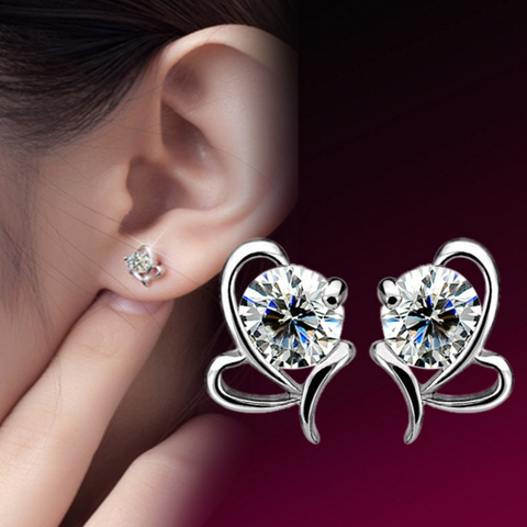 Silver CZ Crystal Wedding Ear Stud Earrings