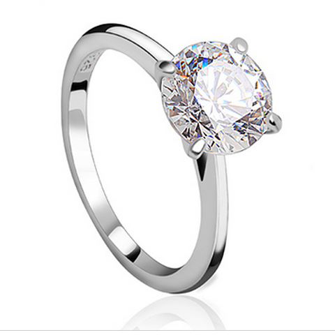 SILVER CUBIC ZIRCONIA LUXURY RING
