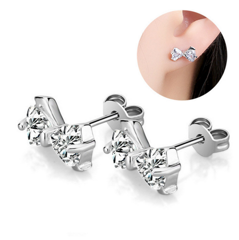 Silver Clear CZ Bow Ear Studs Earrings