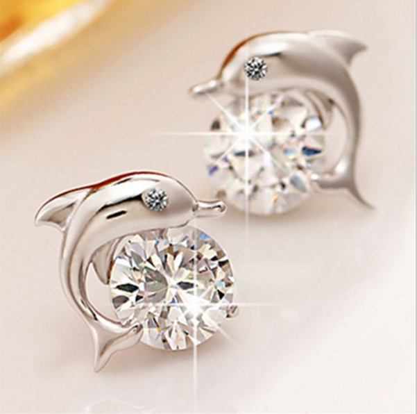 Cute Dolphin Silver CZ Stud Earrings