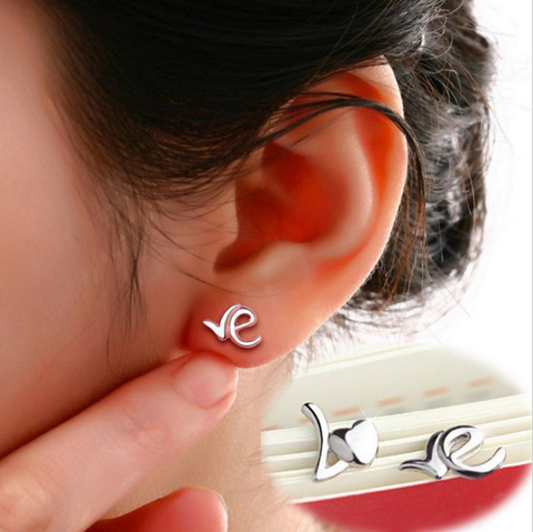 "Tiny Sweet Silver ""LOVE"" Ear Studs Earrings"