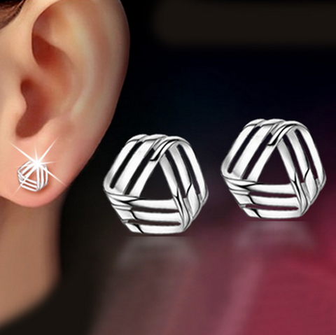 Silver Love Ear brincos Stud Earring