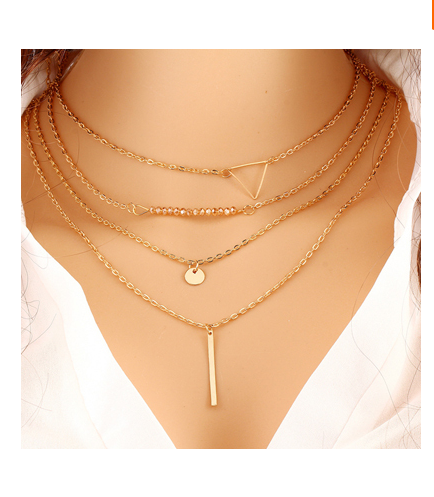 Gold Plated Triangle Coin Bar Pendant Necklace