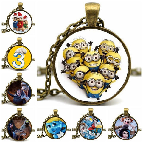 Handmade Cartoon Characters Cabochon Pendant Necklace