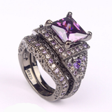 Black Gold Filled and Platinum Plated CZ Ring Sets