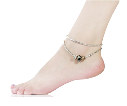 Black Murano Glass Beads Charm Beaded Silver Plated Anklet