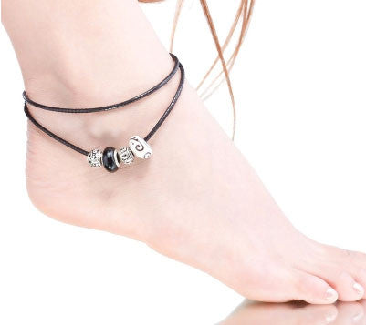 Black and White Murano Glass Charm Beads Leather Anklet
